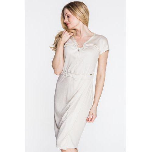 a92a049f81 Beżowa sukienka dzianinowa - Anataka