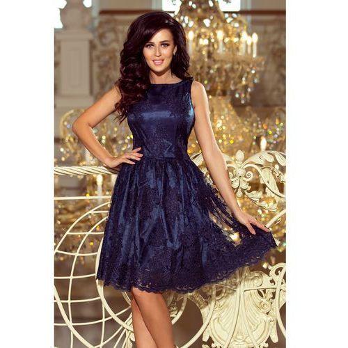 b35005ac49 173-3 Ekskluzywna rozkloszowana sukienka - GRANATOWY HAFT M (5903133835530)  - 1