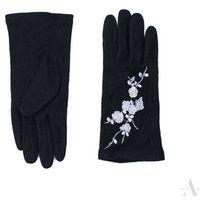 Szykowne czarne rękawiczki damskie z haftowanymi srebrnymi kwiatkami - czarny    srebrny Szaliki, czapki, rękawiczki (-20%)