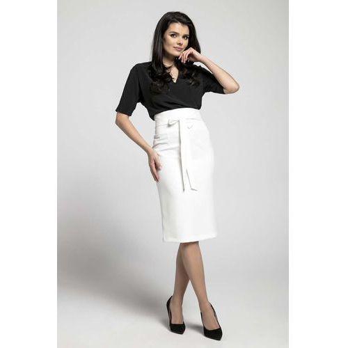 4a7dc0b062 Zobacz ofertę Nommo Ecru elegancka ołówkowa spódnica z ozdobną kokardą