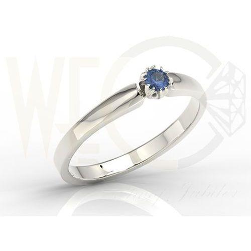 Węc  twój jubiler Pierścionek zaręczynowy z białego złota z szafirem bp 2110b