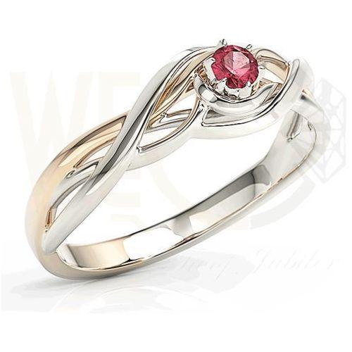 Pierścionek z białego i różowego złota z rubinem BP-72BP-RUB, kolor różowy