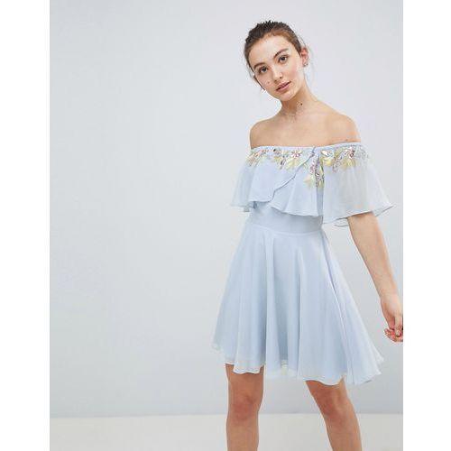 210f809237c89a embellished bandeau crop top skater mini dress - multi marki Asos design -  Fotografia produktu