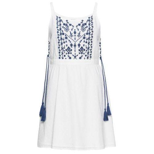 Sukienka z haftem i wiązanymi troczkami w talii bonprix biały, kolor biały