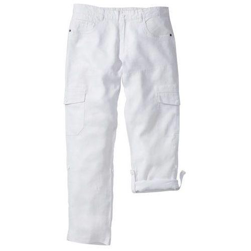 Spodnie lniane bojówki z wywijanymi nogawkami Regular Fit