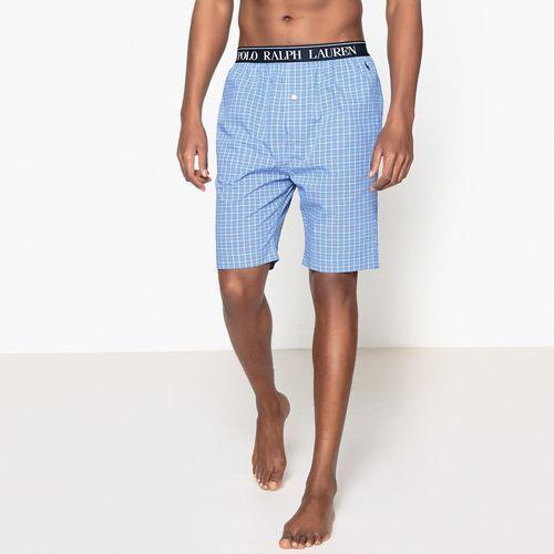 Spodenki od piżamy z bawełnianej popeliny, w kratkę, kolor niebieski