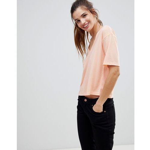 ASOS T-Shirt With V-Neck In Linen Mix - Orange