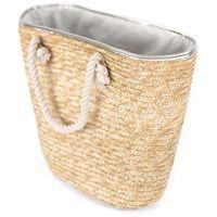Torba damska koszyk plażowa pleciona duża słomiana - jasny beżowy srebrny