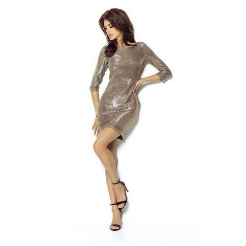 Ivon Złota sukienka wieczorowa błyszcząca z dekoltem na plecach