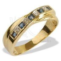 Pierścionek z żółtego złota z szafirami i cyrkoniami jp-36b-c marki Węc - twój jubiler
