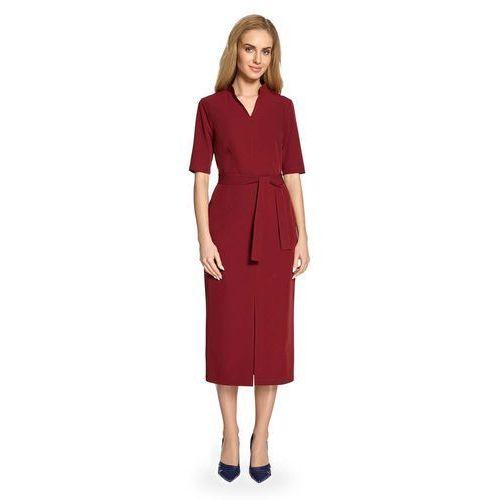 d78d0ef2e4767 Zobacz ofertę Bordowa sukienka midi z paskiem i ze stójką – szara, Moe,  36-44