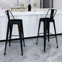 Vidaxl wysokie krzesła barowe z oparciem, czarne x2