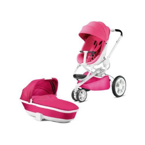 Wózek spacerowy moodd pink passion + gondolka, biały stelaż Quinny