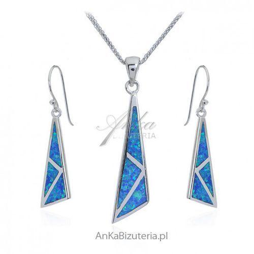 ankabizuteria.pl Komplet biżuteria z niebieskim opalem australijskim, kolor niebieski