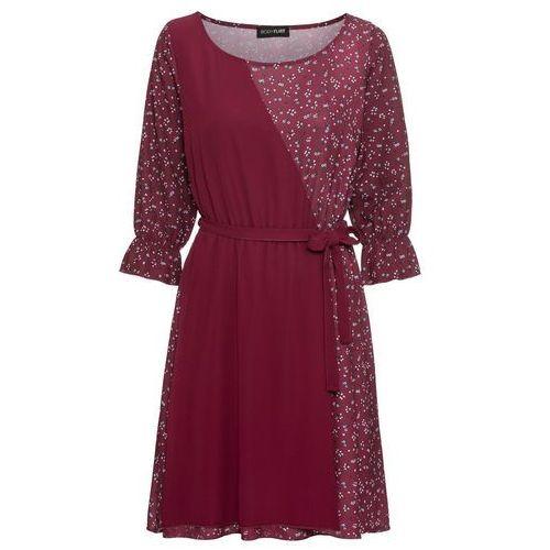 3d2ef53bfb Zobacz ofertę Sukienka z wiązanym paskiem bonprix ciemnoczerwony w kwiaty