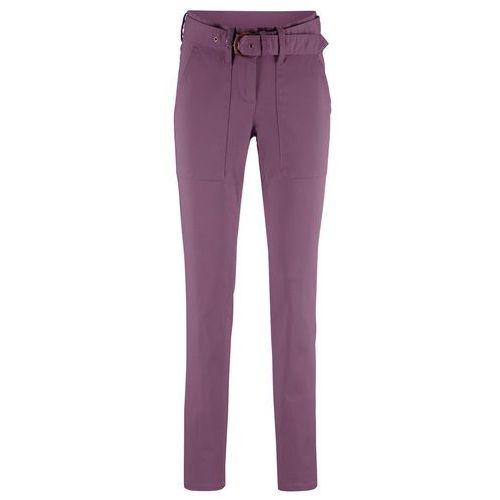 fa09080467 Zobacz ofertę Spodnie z materiałowym paskiem Slim Fit bonprix matowy  lawendowy