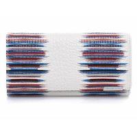 Pojemny poziomy portfel damski biały z granatowymi pasami