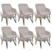 Vidaxl dębowy zestaw krzeseł 6 szt. z podłokietnikami kolor beż