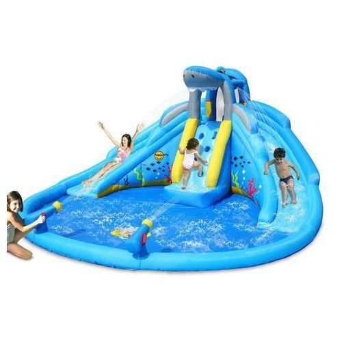 Happyhop Dmuchany basen rekina z podwójną wodną zjeżdzalnią