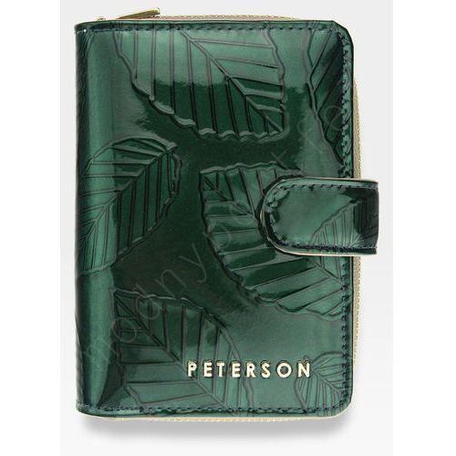6a68b3b9cb122 Peterson Portfel damski skórzany lakierowany zielone liście 602 - zielone  liście