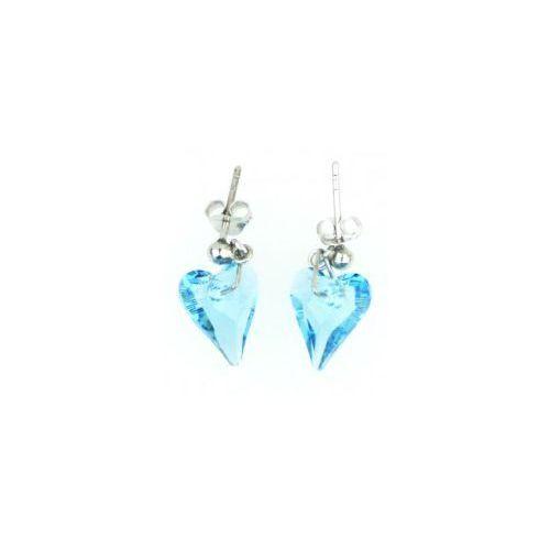 Kolczyki Serce, Swarovski Crystal, błękit, kolor niebieski