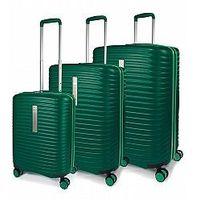 Modo by roncato Komplet 3 walizek (duża, średnia, mała) 4 kółka, poszerzane, zamek szyfrowy z tsa, abs, marki z kolekcji vega - kolor zielony