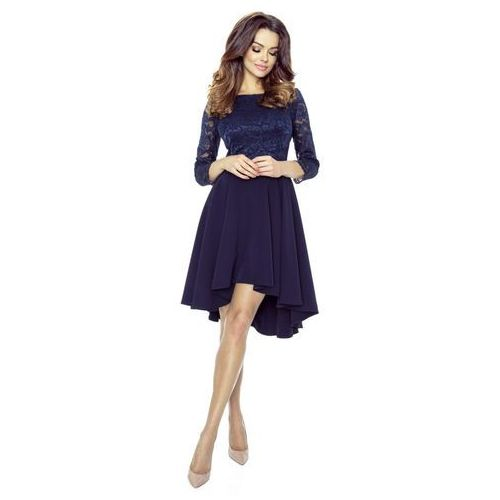 Sukienka koktajlowa z koronką, kolor niebieski