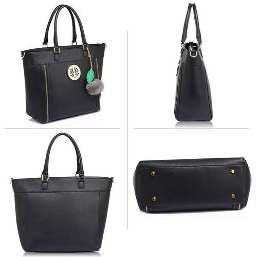 a1236c06144e7 Czarna klasyczna torebka damska z futrzanym breloczkiem - czarny marki  Wielka brytania - 2