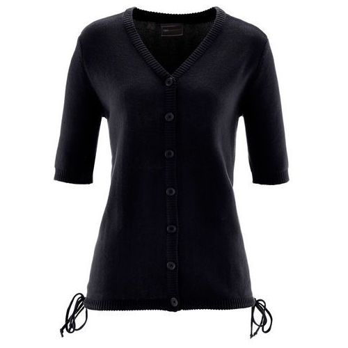 Sweter rozpinany bonprix czarny, kolor czarny
