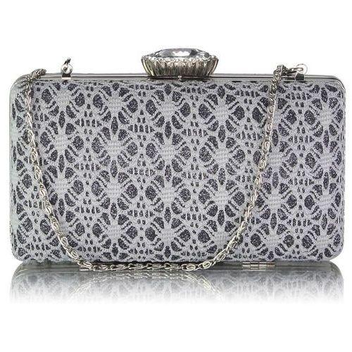 1612925509c43 Wielka brytania Szaro-popielata koronkowa torebka wizytowa brokatowa -  szary