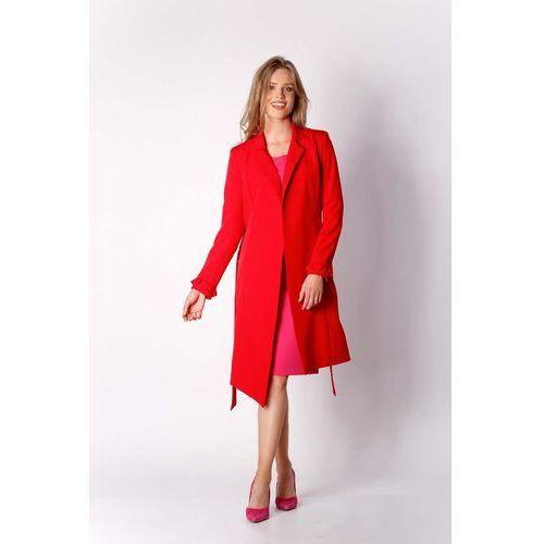 Czerwony Elegancki Płaszcz z Falbanką na Rękawie, kolor czerwony