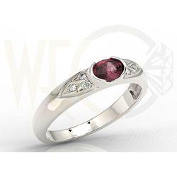 Pierścionek z białego złota z rubinem i diamentami 0,06 ct model AP-80B, kolor czerwony