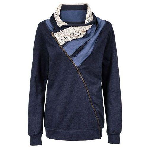 Bluza rozpinana bonprix ciemnoniebieski melanż, kolor niebieski