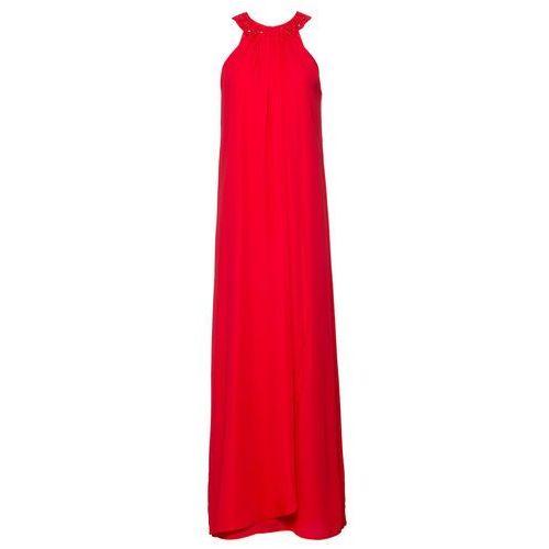Sukienka wieczorowa z aplikacjami truskawkowy Bonprix