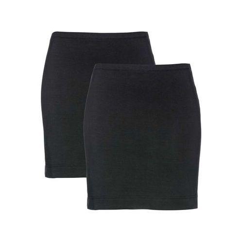 Spódnica z dżerseju ze stretchem (2 szt.) bonprix czarny + czarny, kolor czarny