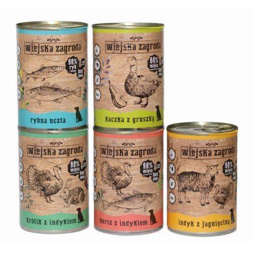 Wiejska Zagroda 4+1szt GRATIS ( 5x400g ) w puszce ZESTAW Wszystkich Smaków MIX dorsz kaczka królik ryby indyk (5906874201442)