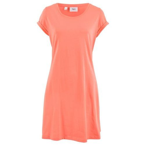 Sukienka shirtowa, krótki rękaw bonprix łososiowy, kolor pomarańczowy