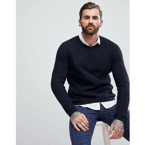 ASOS Textured Wool Mix Jumper In Navy - Navy, kolor szary