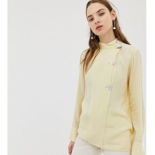 Mango asymmetric collar fasten blouse in Yellow - Yellow, kolor żółty