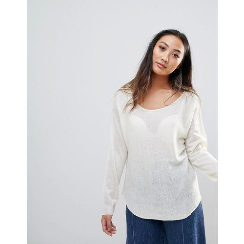 H.One Wool Mix Relaxed Scoop Knit Jumper - White, w 4 rozmiarach