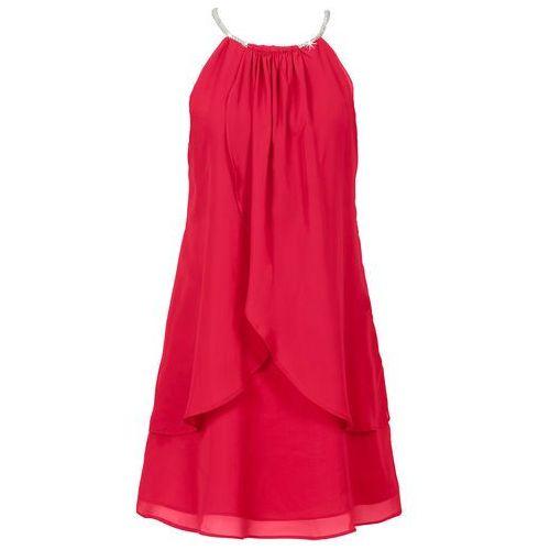 Sukienka szyfonowa z kolią bonprix czerwony, w 5 rozmiarach