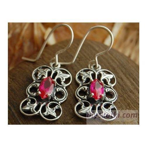 CATALINA - srebrne kolczyki z rubinem, kolor czerwony