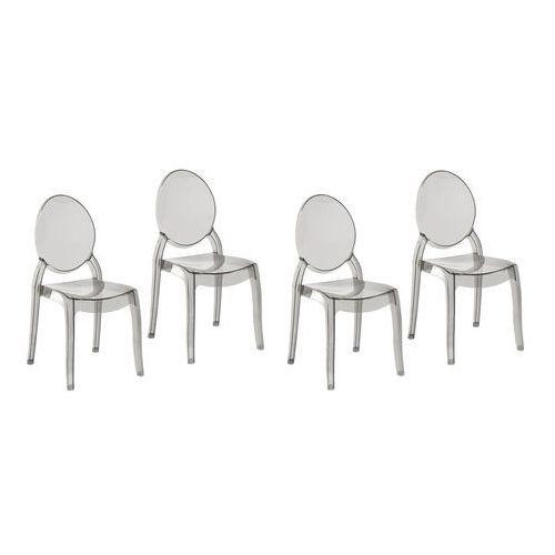Zestaw do jadalni 4 krzesła przezroczysto-czarne MERTON (4260586355956)
