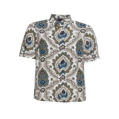 Shirt z dłuższym tyłem oversize bonprix biało-złoty, 1 rozmiar