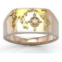 Węc - twój jubiler Sygnet morski z różowego i żółtego złota z brylantem sj-1406pz - różowe i żółte