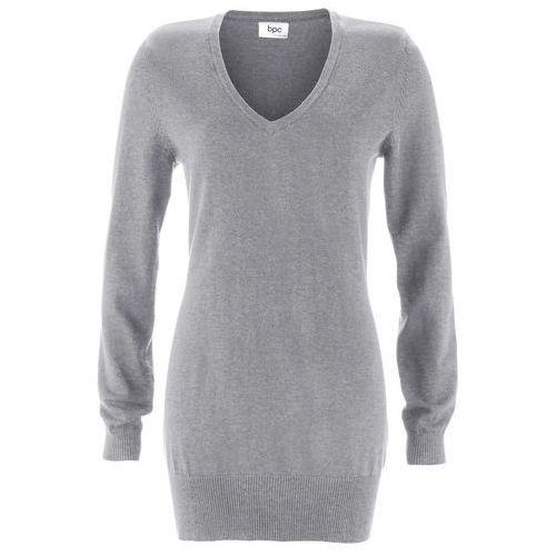 Długi sweter bonprix szary melanż, w 8 rozmiarach