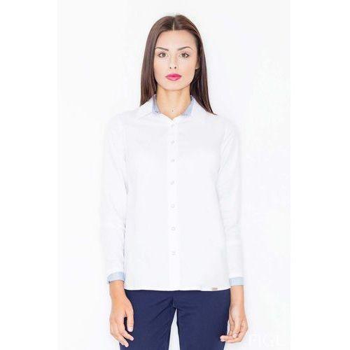 Biało niebieska klasyczna koszula z wykończeniami w paski