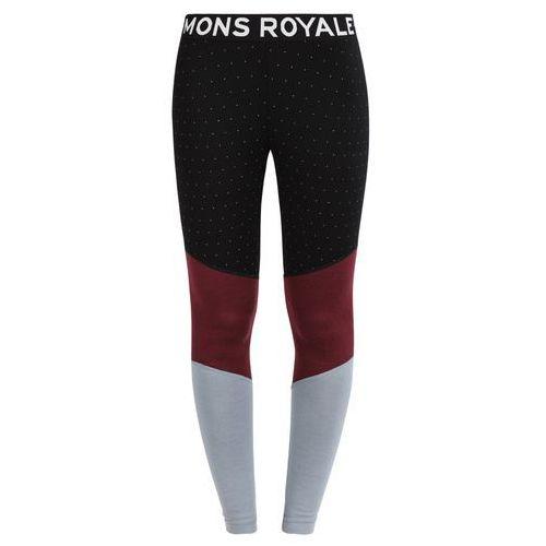 Mons Royale CHRISTY Kalesony black birdseye/burgundy/lead, kolor czarny