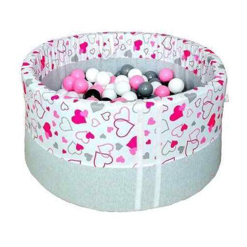 Suchy basen z piłeczkami dla dzieci BabyBall różowe serduszka, BB-0022