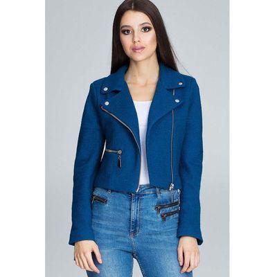 8a5c57153bfaa Niebieska krótka elegancka kurtka z suwakami marki Figl MOLLY